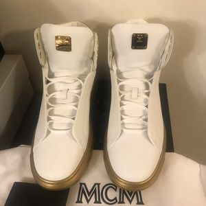 NEW MCM Visetos-Trim Leather High-Top Sneakers